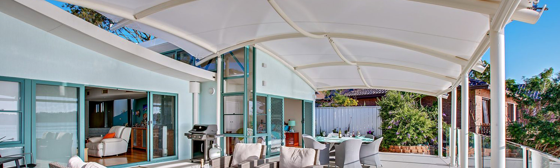 Shade To Order Australia - Residential Shade Sail over balcony- Superior custom sails, Newcastle sails